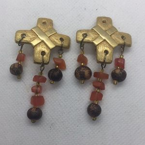 Carnelian Gold Tone Boho Beaded Clip On Earrings